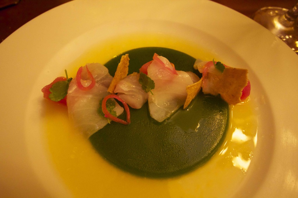 Fresh local scallops, octopus and shrimp with coriander, chaya and sour orange at El Puerto, at The Fairmont Mayakoba.