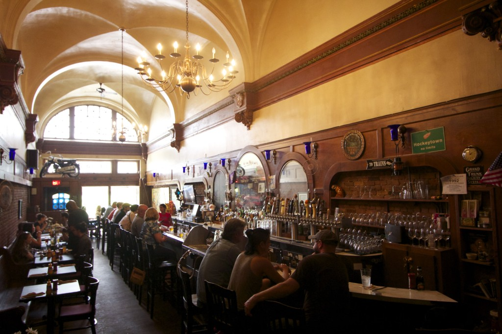 Foran's Grand Trunk Pub, located in the former ticket office of the old Grand Trunk Railroad. Photo ©Robert Bundy