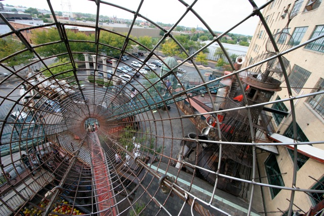 Crawling through a multistory complex of wire tunnels at The City Museum.