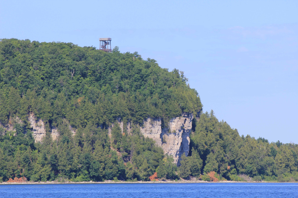 From Anderson dock in Ephraim looking out across Green Bay to the Eagle Tower in Door Peninsula.