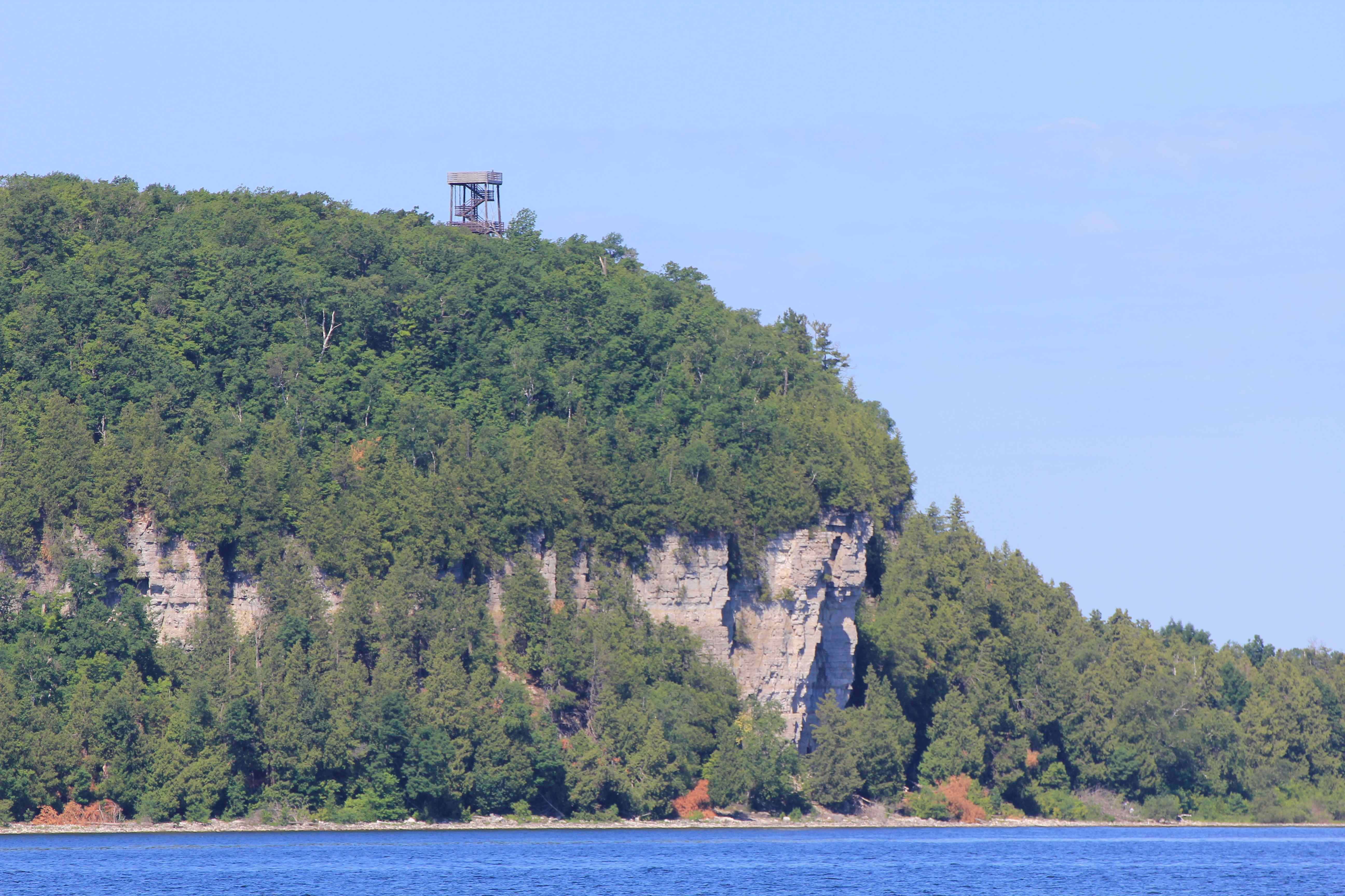 From Anderson dock in Ephraim looking out across Green Bay to the Eagle Tower in Door & Door County: The Jewel in our own Backyard - Travelers Roundtable