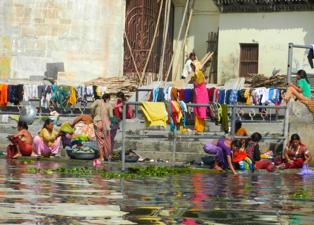 Women washing on the shore of Pichola Lake, Udaipur.