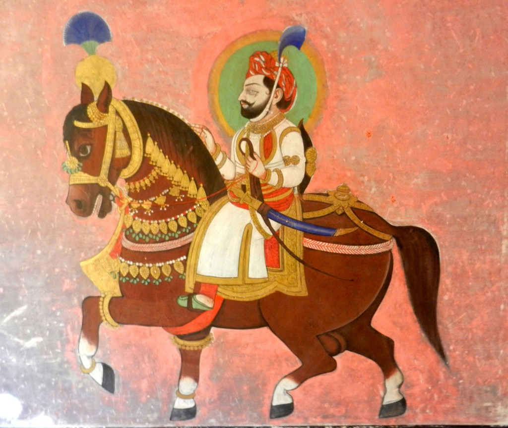 Rajput era wall painting in Juna Mahal Fort.
