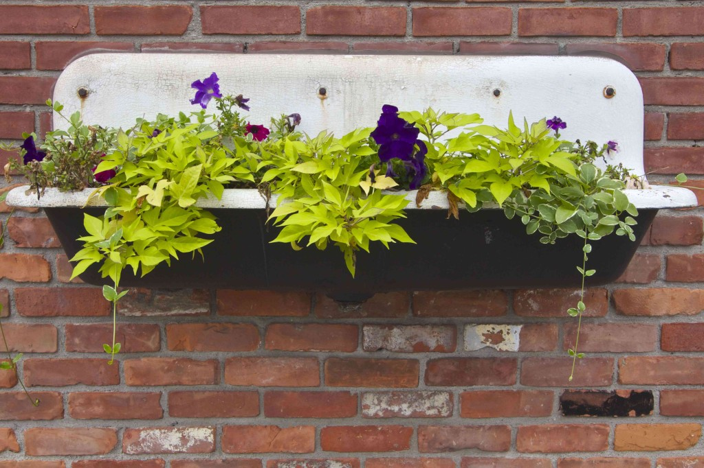 A flowerbed overflows from an old kitchen sink decorating the side of a building in Corktown neighborhood of Detroit. Photo ©Robert Bundy