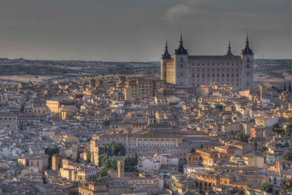 Toledo at dusk viewed from Parador Toledo.