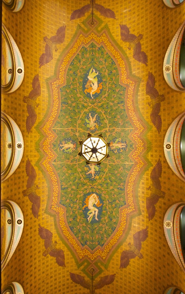 Hand-painted ceiling in the Fisher Building, one of the finest examples of Art Deco Architecture in America. Photo ©Robert Bundy