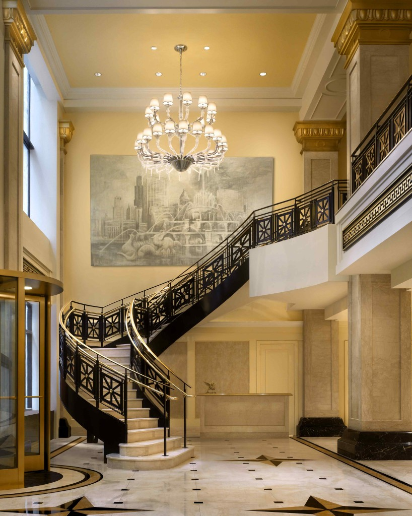The grand staircase in the lobby of the JW Marriott Chicago.