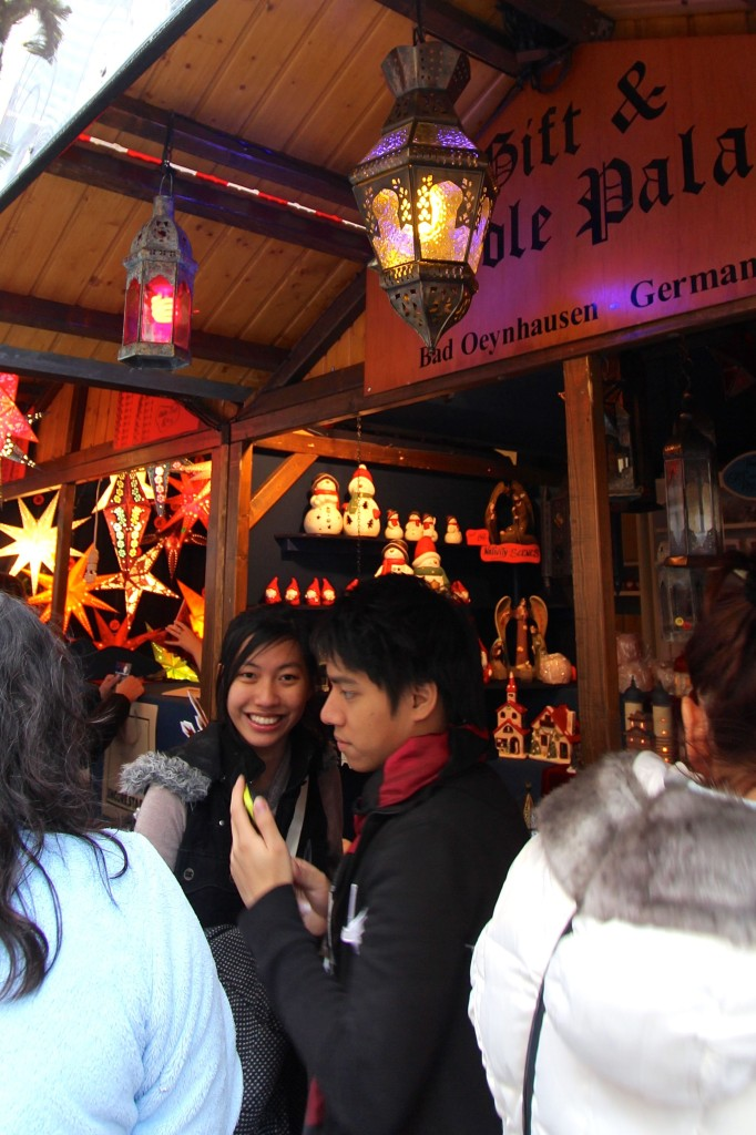 Shopping for holiday gifts at the Kristkindelmarkt.