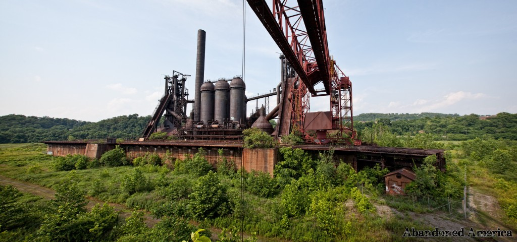 Panorama of the Carrie Furnaces, gantry crane, and elevated railroad.