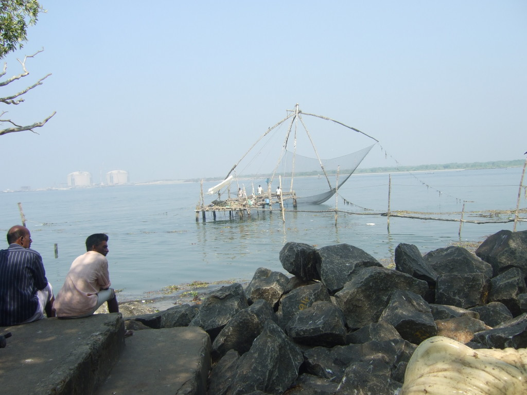 Great hinged nets are lowered into the water using a method that has been in use here for more than a thousand years.