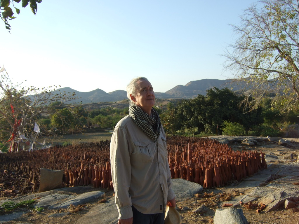 The author making a wish at the terracotta horse site at Poshina.