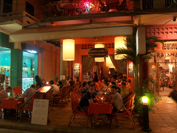 Pub Street in Siem Reap is where travelers gather for evening meals and drinks after a long day in the heat.