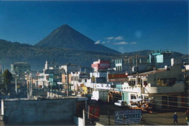 Santa Maria looms over the Quetzaltenango basin in Guatemala.