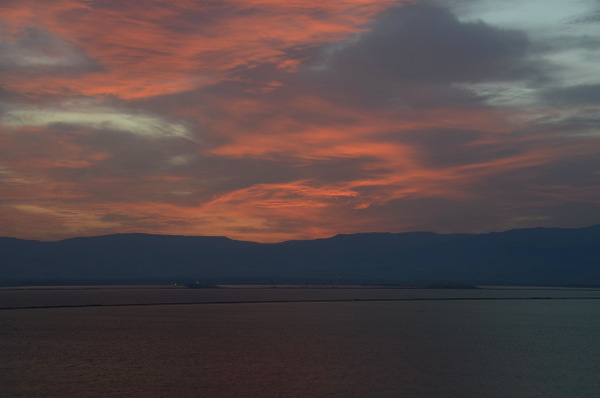 Sunrise over Jordan and the Dead Sea.